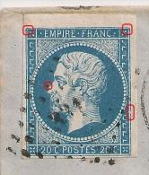 Sur Enveloppe, A PLANCHER, 20C Napoléon III, Bord De Feuille PC 3316 TANNAY Nièvre. - 1853-1860 Napoleon III