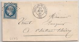 LUXE, PC 2251 NEUILLY ST FRONT, Aisne Sur LAC. 20C Napoléon III TRES FRAIS ! - Marcophilie (Lettres)