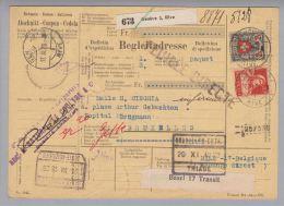 Heimat GE Genève 3 Rive 1928-11-17 Paketkarte Nach Bruxelles Frankiert Mit CHF 2.20 - Suisse