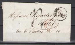 LETTRE GENEVE POUR LYON 01/08/1859 - Lettres & Documents