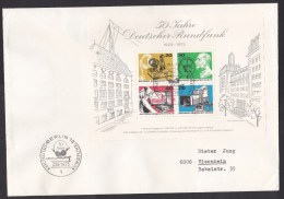 Germany - Berlin: Cover With Souvenir Sheet German Broadcasting Service, 1973, First Day Mark, Radio, TV (traces Of Use) - [5] Berlijn