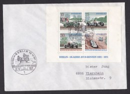 Germany - Berlin: Cover, 1971, Souvenir Sheet Racers, First Day Mark Motorcycle, Classic Cars, Oldtimers (traces Of Use) - [5] Berlijn