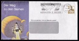Germany: Window Cover, 1985, Single Franking, Postmark Space Shuttle, Aeronautics, Rocket (rough Opened, Traces Of Use) - Brieven En Documenten