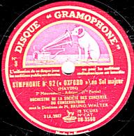 78 Trs 30 Cm  état  B - ORCHESTRE DES CONCERTS DU CONSERVATOIRE - SYMPHONIE N° 92 (OXFORD) 1re Partie - Conclusion - 78 T - Disques Pour Gramophone