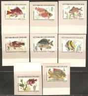 Vietnam 1976 Mi# 866-873 U (*) Mint No Gum - Imperf. - Fishes - Fishes