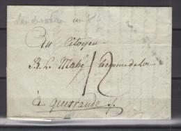 Landerneau Pour Guerande 3 Thermidor An 8 (21 Juillet 1800) Taxe 12 Sols - Marcophilie (Lettres)