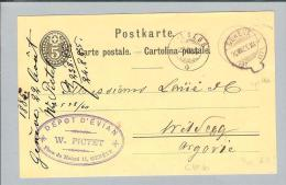 Heimat GE Genève 1885-07-22 Sack-O CK > Wildegg AG - Entiers Postaux