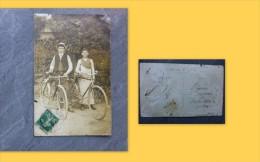 92 Asnières, Rue Chanzy, CP Photo VELO Cyclisme, Vers 1900 état  ; Ref 690 92 - Asnieres Sur Seine