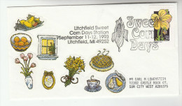 1993 LITCHFIELD Mi SWEETCORN DAYS Corn EVENT COVER USA Stamps Food Flower Farming Agriculture - Vegetables