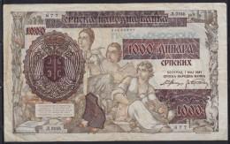 7598. Germany, Occupation Of Serbia, 1.5.1941. Banknote Of 1000 Dinars, VF - Serbie