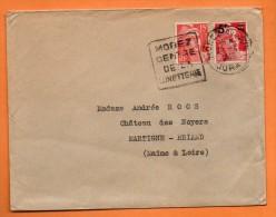 MOREZ  CENTRE DE LUNETTERIE  ( DAGUIN )    20 / 4 / 1949 Lettre Entière N° Q 6 - Marcophilie (Lettres)