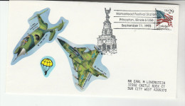 1993 PRINCETON Illinois HOMESTEAD FESTIVAL EVENT COVER USA Stamps STARFIGHTER JET LABEL Aviation Parachuting Flight - Airplanes