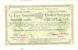 Billet Loterie Royale De Hongrie - Janvier 1910 - Billets De Loterie
