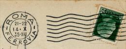 *ITALIE : Oblitération ROMA FERROVIA (1935), Timbre Victor Emmanuel III Sur Carte Postal (2 Scans) - Storia Postale