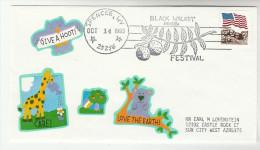 1993 Black Walnut Spencer Wv WALNUT FESTIVAL Nut  EVENT COVER USA  Stamps  Food  Giraffe Bear Owl Bird - Trees