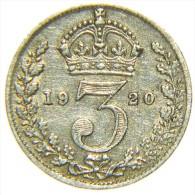 GREAT BRITAIN GEORGIUS V 3 PENCE 1920 ARGENTO SILVER SILBER - 1902-1971 : Monete Post-Vittoriane
