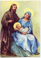 JOYEUX NOËL - La Sainte Famille - Joseph Marie Jésus - La Vierge Tient L´enfant Sur Ses Genoux - Non écrite - 2 Scans - Noël