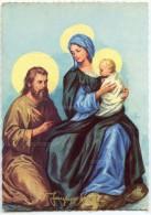 JOYEUX NOËL - La Sainte Famille - Joseph à Genoux Près De La Vierge Marie Tenant Jésus - Non écrite - 2 Scans - Autres