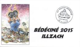 BEDECINE 2015 ILLZACH & MAËSTER : Enveloppe Format FDC + Cachet Temporaire Philatélique Officiel Du Festival - Comics