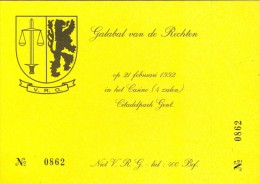 Ingangskaart Galabal Van De Rechten Universiteit Gent - Casino 1992 - Tickets - Entradas