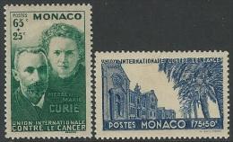 Monaco  1938  Sc#B24-5   Curies Hospital Charity Set  MLH*  2016 Scott Value $22 - Mónaco