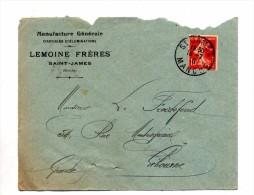 Lettre Cachet Saint James Sur Gandon Entete Article Illumination Lemoine - Marcophilie (Lettres)