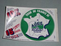 Rare Sticker Autocollant, Bon De Participation Concours La Redoute, Tour De France 81 1981, MOTOBECANE Autocollants - Autocollants