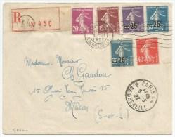 B863 - Recommandé  PARIS 44 RUE DE GRENELLE - 1927 -Timbre Type Semeuse - - 1921-1960: Modern Period