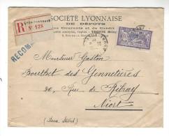 Perforé, Société Lyonnaise De Dépôts  Merson 60 C , 1922 ( Recommandé ) - France