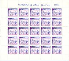 Liberia Sports Baseball Cpl Sheet Of 25 Ufolded MNH 1955 A04s - Liberia