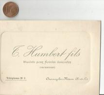 CARTE DE VISITE T. HUMBERT, PIANISTE POUR SOIREES DANSANTES à CHARNAY LES MACON (SAONE ET LOIRE) 1913 - Cartes De Visite