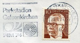 Germany Deutschland Allemagne 1974 Cover World Cup Football Fussball Soccer Slogan Cancel Parkstadium Gelsenkirchen - Coppa Del Mondo