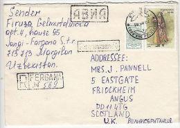 Uzbekistan: Registered Cover, Margilon To Scotland, With Cachets, 28 Feb 2002 - Uzbekistan