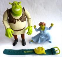 2 Figurines Figurine Et 1 Montre SHREK 2004 DREAMWORKS Divers Prime Et Publicitaires Quick Mc Do + Action Figure - Figurines