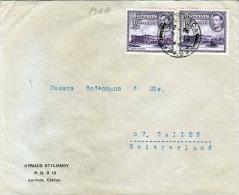 CYPERN 194? - 2 Fach Frankierung Auf Brief Gel.Lanarca - St.Gallen - Cartas