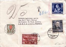 ÖSTERREICH Brief Mit Schweizer Nachporto 1937 - Seltene 3 Fach Frankierung + 25 CH-Nachporto, Gel.v.Wien N. Lausanne - 1918-1945 1st Republic