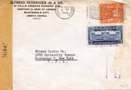 GUATEMALA Zensur Brief 1945 - 2 Fach Frankierung Auf Brief Gel.v.Guatemala City Nach New York - Guatemala