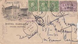 USA 1937 - 4 Fach Frankierung Auf Brief Von Hotel Oakland, 6 Stempel, 2 Zeppelinförmige Stempel - Vereinigte Staaten