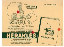 """ZE-Buvard.-HERAKLES-FAR-WEST-l´élève """"IKOKOA """" Sculptait Des TOTEMS Pour Faire Ses Devoirs,mais ...comme Il écrirait - Buvards, Protège-cahiers Illustrés"""