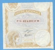 Billet De Loterie Nationale - Mars 1934 - Billets De Loterie