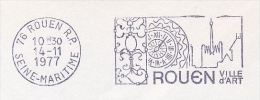 1977 FRANCE COVER Illus SLOGAN Pmk  ROUEN CLOCK  Stamps - Horlogerie