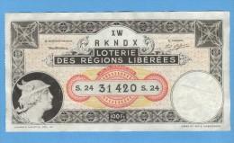 Billet De Loterie Des Régions Libérées - Mars 1935 - Billets De Loterie