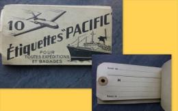 Etiquettes PACIFIC, AVION, Bateau, Carnet De 9 étiquettes, Vers 1920 ? ; Ref 695 V03 - France