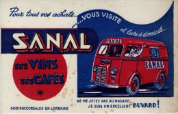 Buvard - SANAL - Ses Vins - Ses Cafés - 300 Succursales En Lorraine - Peugeot D 3A - Buvards, Protège-cahiers Illustrés