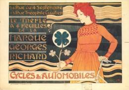 CPA-1960-AFFICHE-1900-PUB-CYCLES & AUTOMOBILES-MARQUE G RICHARD-TREFLE A 4 FEUILLES-TBE - Publicité