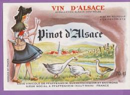 étiquette Vin Alsace Pinot D'alsace Oies - Gewurztraminer