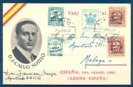 1937 , GUERRA CIVIL , TARJETA POSTAL PATRIÓTICA , CALVO SOTELO , SEVILLA , MAT. AMBULANTE - 1931-50 Brieven