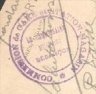 25 - Besançon - Cachet Commission De Gare Et Station Magasin - Le Cdt Militaire Besançon - Marcophilie (Lettres)