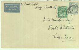 KENYA & UGANDA - 1931-  KING GEORGE V  5C  & 50C  ON COVER TO  CAPE TOWN - Kenya & Ouganda