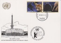United Nations Show Card 2013 ´Berlin´  Mi 795-796 Endangered Species - Greater Slow Loris - Echidna - Centre International De Vienne